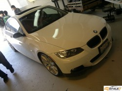 Gloss Black Roof and Diffuser on white BMW 335i