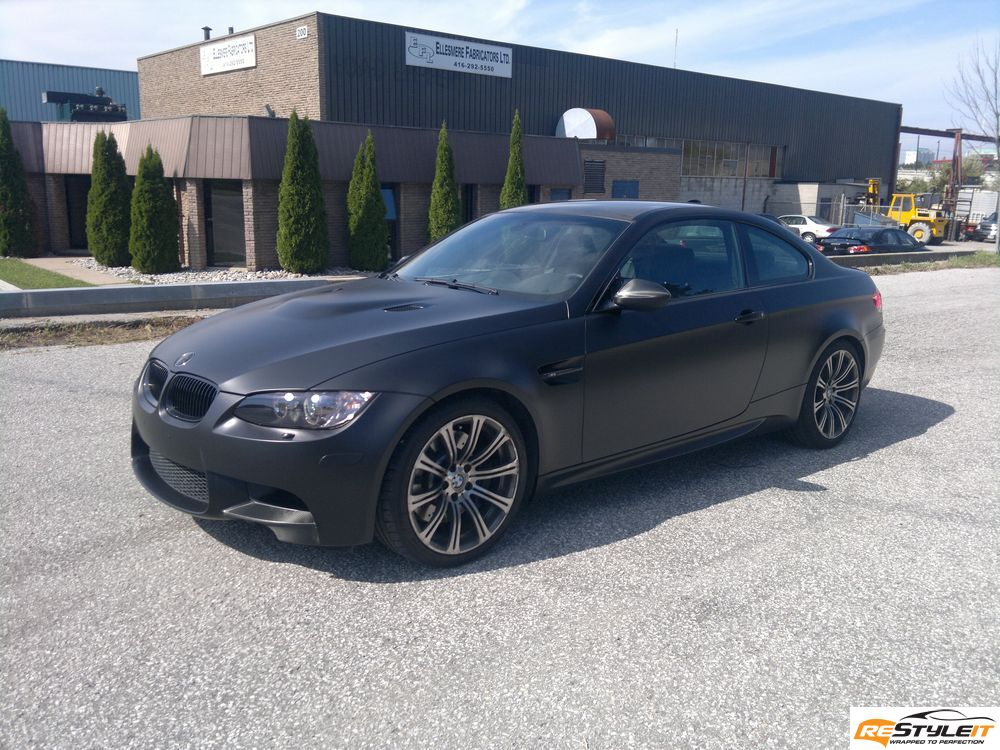 Matte Frozen Black BMW M3 wrap