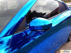 NISSAN GTR BLUE CHROME WRAP