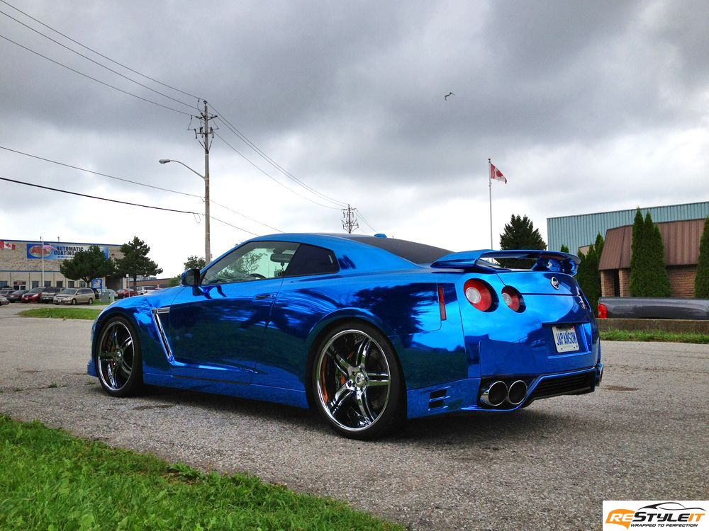 Nissan Gtr Blue Chrome Wrap Vehicle Customization Shop