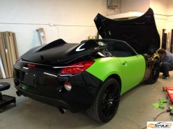 Pontiac Solstice Lime Green Wrap in progress