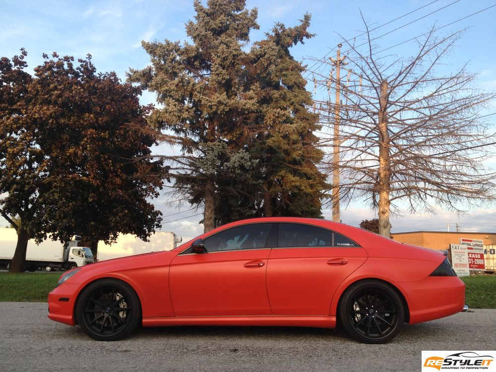Matte Red Mercedes CLS 55 wrap