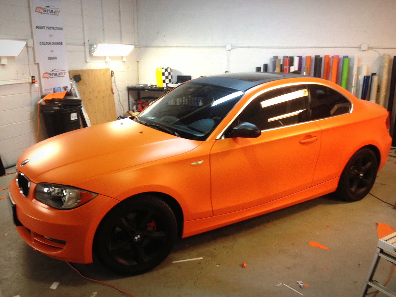 Bmw 1 Series In Matte Orange Wrap Vehicle Customization