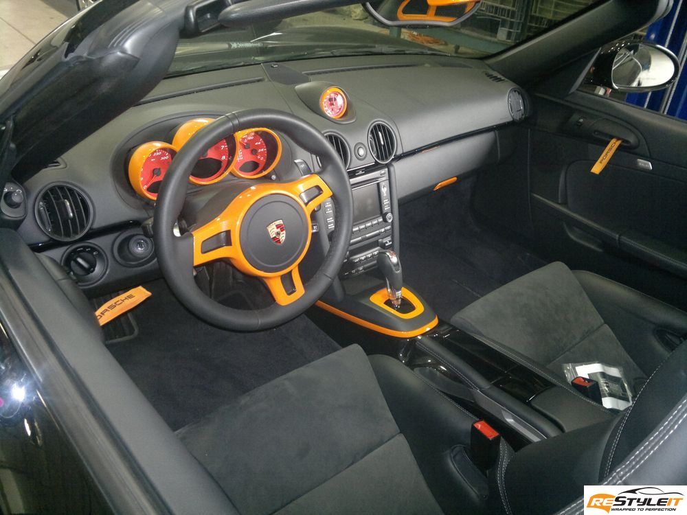 Porsche boxster interior wrap vehicle customization shop for Dash designs car interior shop