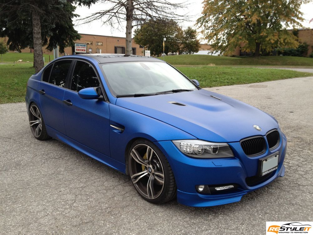 Matte Metallic Blue Bmw 3 Series Vehicle Customization