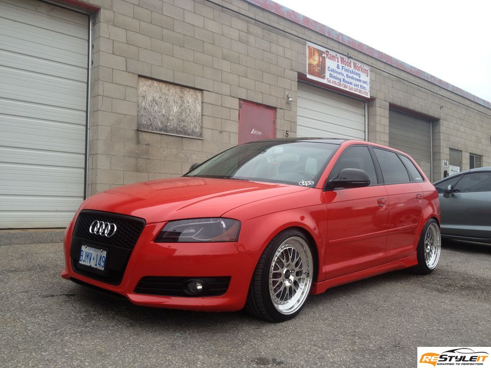 gloss red audi a3 vehicle customization shop vinyl car wrap car wrap in toronto miami. Black Bedroom Furniture Sets. Home Design Ideas