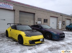 Nissan 370Z Gloss Yellow wrap and Matte Purple Chameleon Nissan GTR