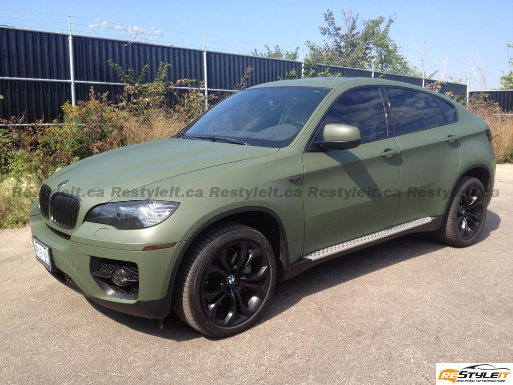 Matte Military Green Bmw X6 Vehicle Customization Shop Vinyl Car Wrap Car Wrap In Toronto