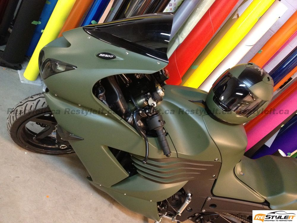 Kawasaki ZX14 In Matte Military Green Wrap