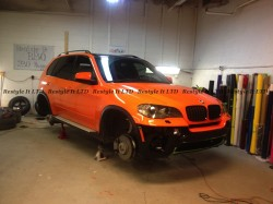 2013 BMW X5 Fire Orange wrap