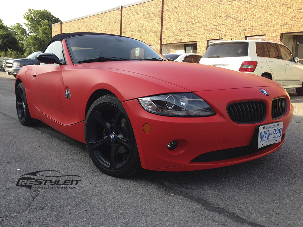 Matte Red Bmw Z4 Vehicle Customization Shop Vinyl Car