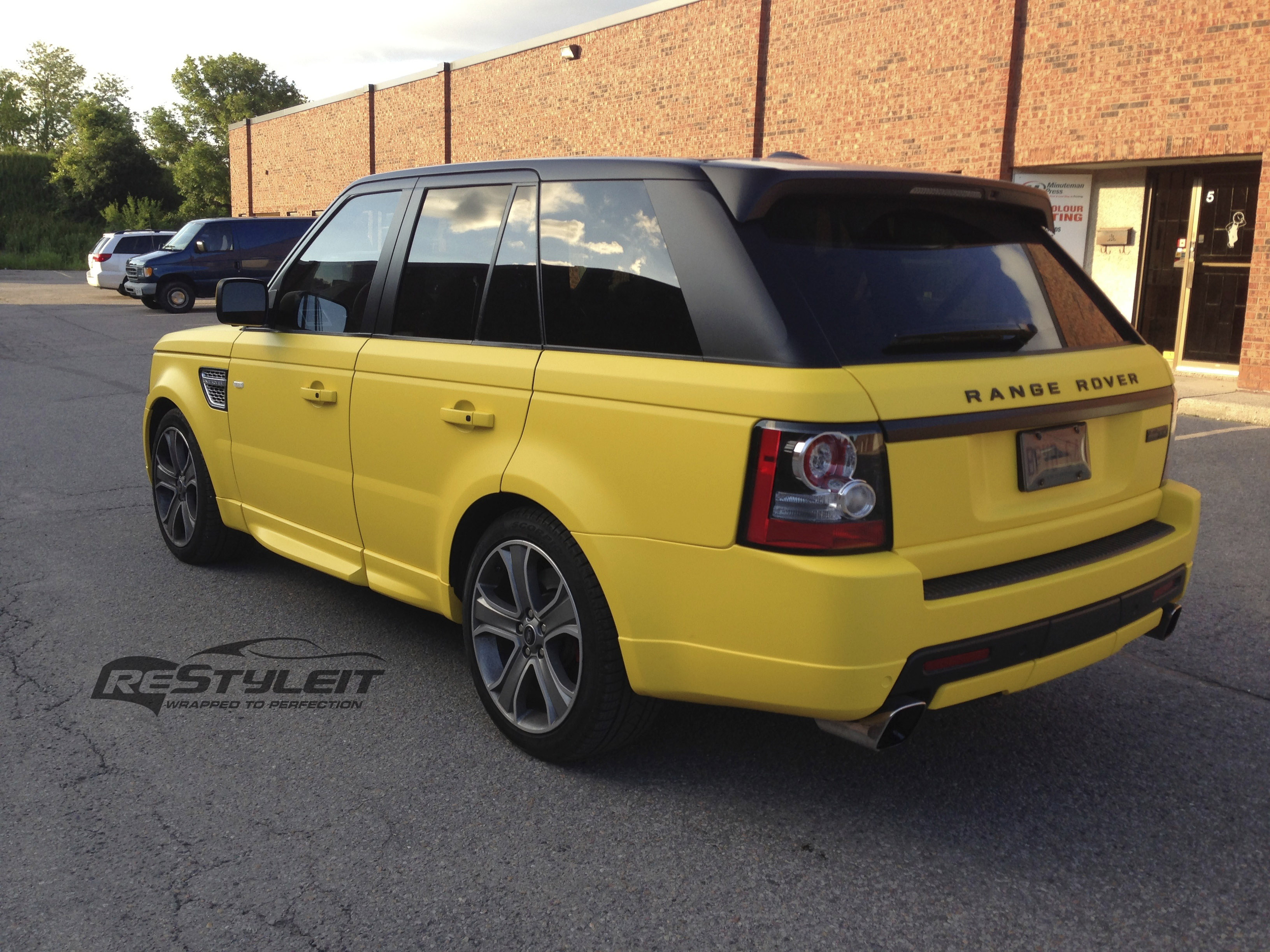 matte yellow range rover sport vehicle customization shop vinyl car wrap car wrap in. Black Bedroom Furniture Sets. Home Design Ideas