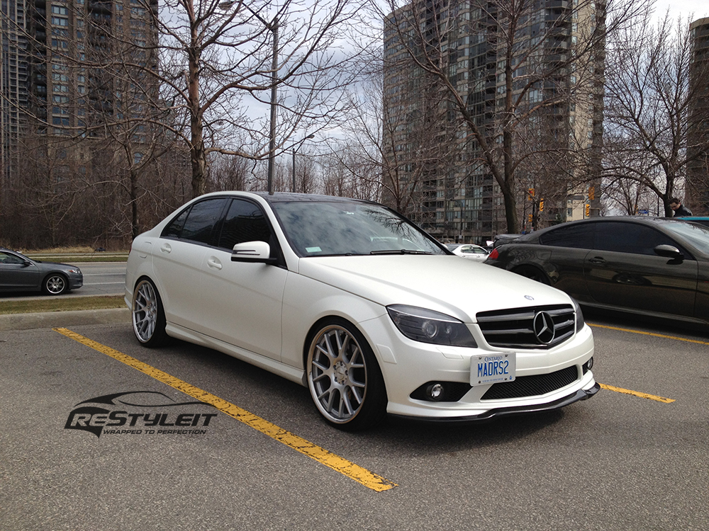satin pearl white mercedes c300 vehicle customization