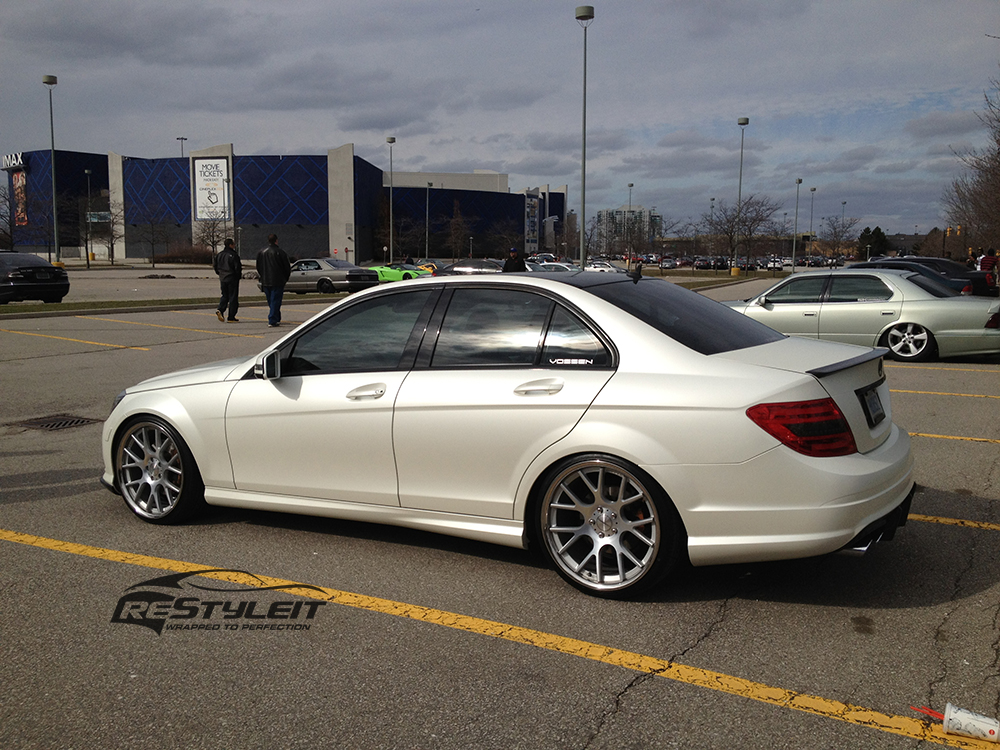 Satin Pearl White Mercedes C300 Vehicle Customization Shop