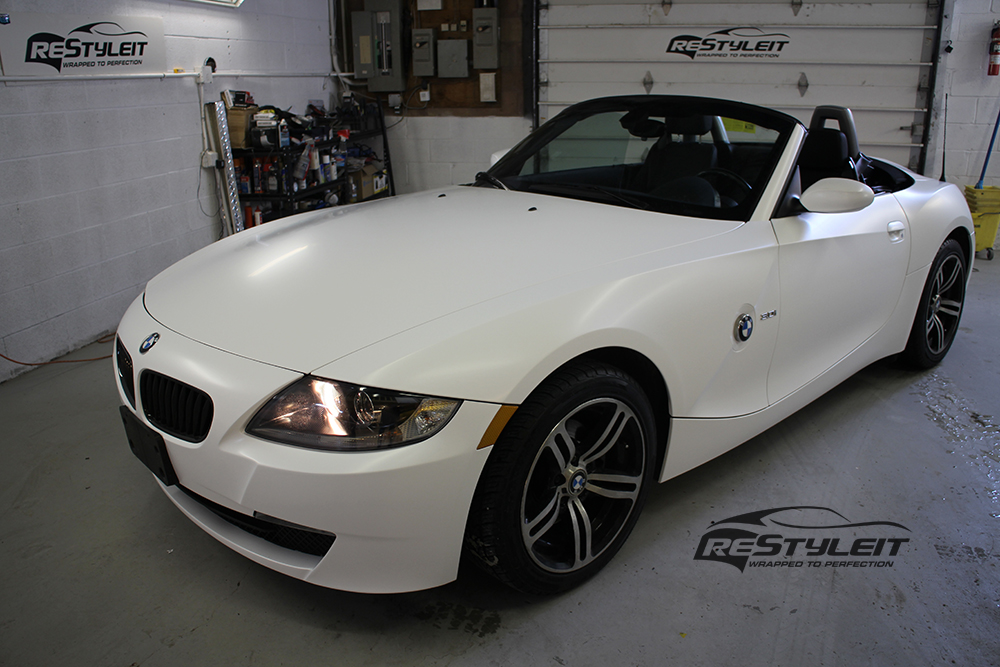 Satin White Bmw Z4 Vehicle Customization Shop Vinyl