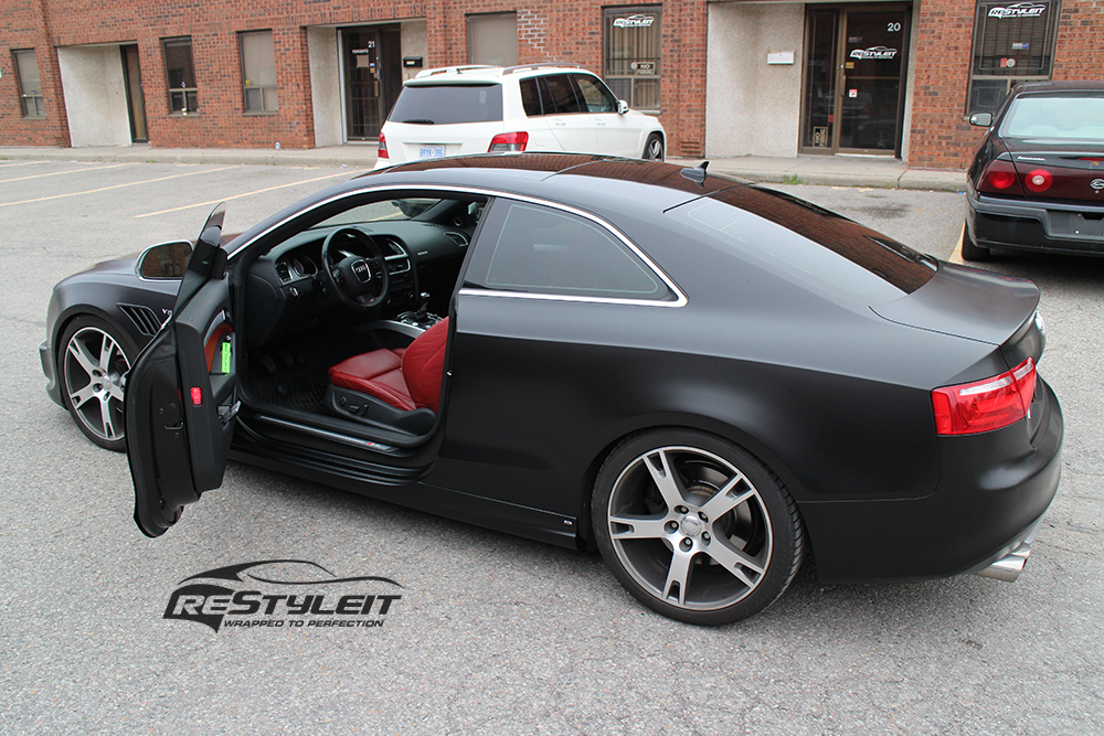 Satin Black Audi S5 Vehicle Customization Shop Vinyl