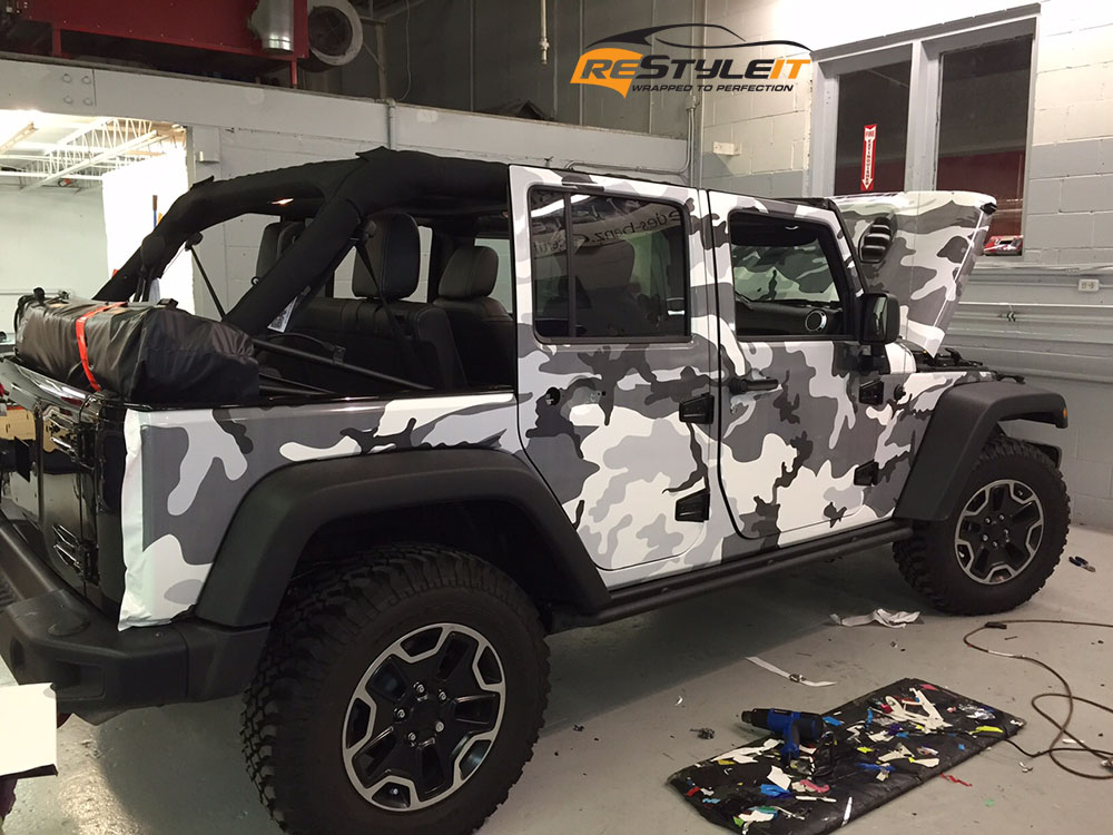 White Camo Jeep : Jeep rubicon winter camo wrap vehicle customization shop