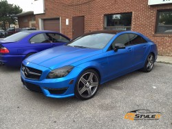 Satin Perfect Blue Mercedes CLS63