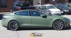 Tesla Model S wrapped in matte Military Green