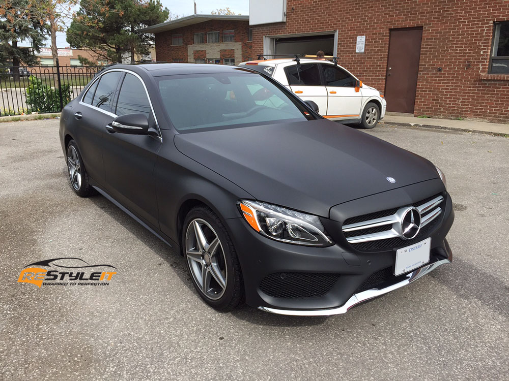 matte black mercedes c300 vehicle customization shop