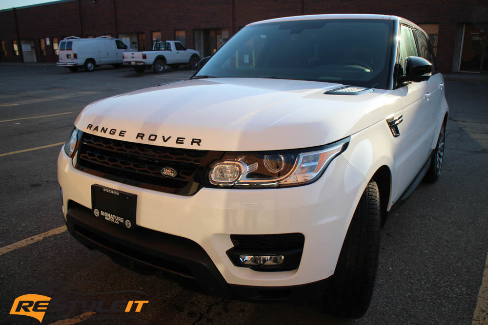gloss white range rover full wrap vehicle customization shop vinyl car wrap car wrap in. Black Bedroom Furniture Sets. Home Design Ideas